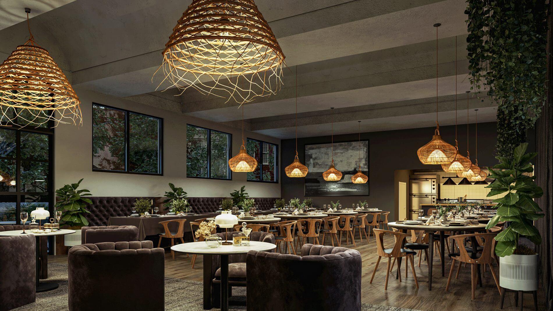3d rendering of a restaurant