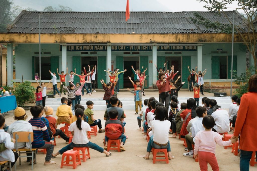 Kids excersising at local school